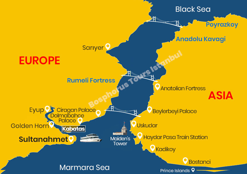Bosphorus Tours Map